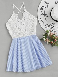 Shop Open Back Criss Cross Striped Lace Panel Dress online. SheIn offers Open Back Criss Cross Striped Lace Panel Dress & more to fit your fashionable needs. Cute Summer Outfits, Cute Casual Outfits, Stylish Outfits, Casual Dresses, Summer Dresses, Formal Dresses, Wedding Dresses, Tee Dress, Belted Dress