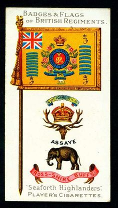 "Player's Cigarettes, Badges & Flags of British Regiments, 1904. No41 Seaforth Highlanders ""Ross Shire Buffs"""
