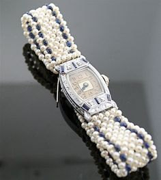 Antique Watch 1920s - Diamond, Sapphire, Pearl Watch