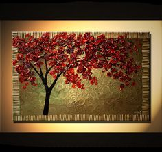 ORIGINAL Large Abstract Green Red Rose Blooming by OsnatFineArt, $375.00