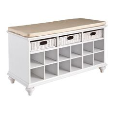 Mason Wood Shoe Storage Bench in White
