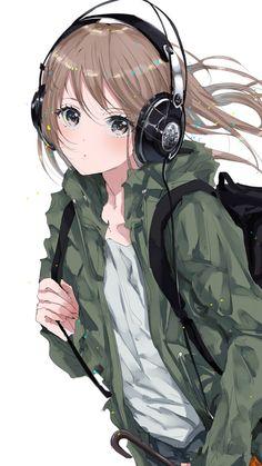 Original, anime girl, bag, headphone, walk, 720x1280 wallpaper