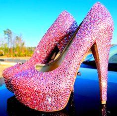 Fabulous Pink Bling Diamond High Heels - High Heels - High Heel: by clairehobby Sparkle Heels, Glitter Heels, Pink Heels, Glitter Converse, Green Heels, Girls Heels, Sexy Heels, Pink Sparkly, Pink Bling