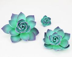 Purple Gum Paste Succulents - succulents cake toppers
