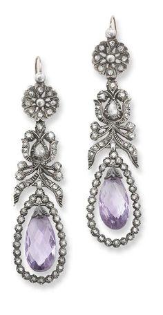 amethyst and diamond ear pendants, 1800