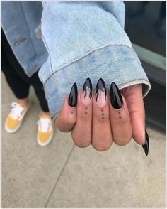 Black Flame Nails Glossy black stiletto nails with flame accent . - Black Flame Nails Glossy black stiletto nails with flame accent nails For more nail inspiration, fo - Black Stiletto Nails, Black Acrylic Nails, Summer Acrylic Nails, Best Acrylic Nails, Nail Black, Summer Nails, Black Almond Nails, Matte Nails, Spring Nails