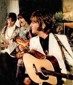 Paul McCartney, George Harrison, and John Lennon. Paul's face!!
