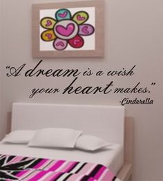 "SALE Vinyl wall lettering decal Cinderella quote ""A dream is a wish your heart makes."""