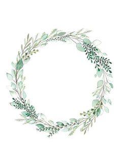 Frame Floral, Flower Frame, Flower Boarders, Flower Circle, Diy Planner, Corona Floral, Botanical Wedding Invitations, Floral Invitation, Watercolor Art