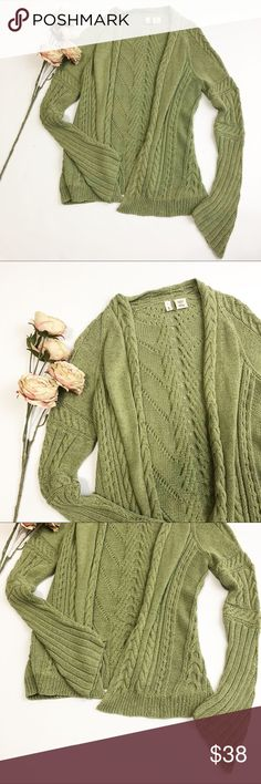 Anthropologie Moth Open Knit Cardigan Anthropologie Moth Open Knit Cardigan in a beautiful mutes green and size small. Excellent condition. Anthropologie Sweaters Cardigans