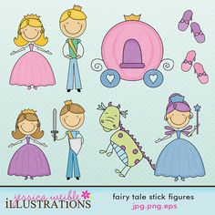 Fairy Tale Stick Figures Cute Digital Clipart for Card Design, Scrapbooking, and Web Design