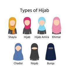 Types of Hijab. Muslim veils hijab, niqab, burqa, chador, shayla and khimar. Source by clothes hijab Muslim Veil, Muslim Hijab, Muslim Dress, Hijab Dress, Niqab Fashion, Muslim Fashion, Hijab Niqab, Mode Hijab, Muslim Girls