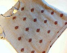 Hand knitted baby dress - Polka dot dress - Baby clothing - Baby girl