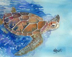 Meeresschildkröte-Kunstdruck von Original Aquarell von dogartstudio