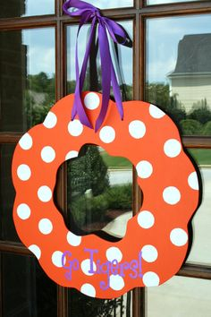 Clemson Door Wreath by southernwhimzy on Etsy. Own it, love it.