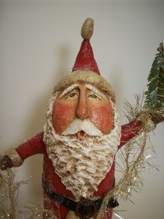 cute primitive paper mache folk art Santa.