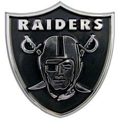 NFL Oakland Raiders Chrome Automobile Emblem, Silver
