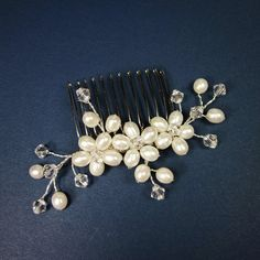 Bridal Hair Comb handmade with Swarovski Crystals and Fresh Water Pearls by ForeverCherishDesign  #forevercherishdesign