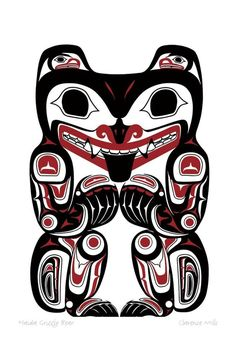 Haida Grizzly Bear, Clarence Mills I have a print of this.You can find Haida art and more on our website.Haida Grizzly Bear, Clarence Mills I have a print of this. Haida Kunst, Inuit Kunst, Arte Haida, Haida Art, Inuit Art, Haida Tattoo, Totem Tattoo, Tattoo Art, Tatouage Haida