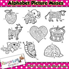 Maze Clip art set contains an image, in the form of a maze, for each of the 26 letters of the alphabet. These are great for creating phonics and letter related resources!
