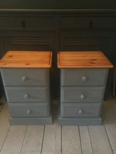 Pair of orange pine bedside drawers given a makeover. Tops have been sanded and oiled. Body painted in a light grey chalk paint, and wax finished. Pine Bedroom Furniture, Bedroom Furniture Makeover, Grey Furniture, Upcycled Furniture, Vintage Furniture, Bedside Table Makeover, Painted Drawers, Grey Drawers, Painted Bedside Tables