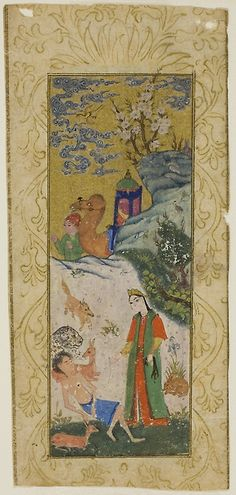 Iran, Layla Visiting Majnun in the Desert, page from a copy of the Khamsa of Nizami