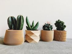 Set of 4 Pots / Planters Design Hygge printed in Wood perfect