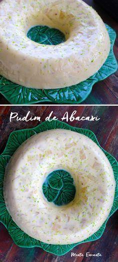 Pudim de Abacaxi cremoso com pedacinhos da fruta in natura! Leva, leite de coco, leite condensado, creme de leite e gelatina de abacaxi