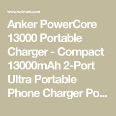 1bf8b1c1432 Anker PowerCore 13000 Portable Charger - Compact 13000mAh 2-Port Ultra  Portable Phone Charger Power