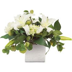 Faux White Lily Hydrangea Peony Flowers Green Apples in Silver Cube... (€320) ❤ liked on Polyvore featuring home, home decor, floral decor, flowers, decor, filler, furniture, flower centerpieces, silver flower pot and hydrangea centerpieces