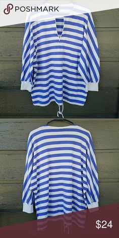 Vintage 90s Purple and White Striped Sweatshirt No tag but classic 90s! Fits oversized, so size is variable s-l in my opinion  Great vintage condition  Feel free to ask me any additional questions. Reasonable offers are considered. No trades, or modeling. Happy Poshing! Vintage Sweaters