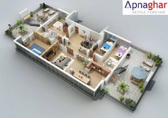 A cut model of Floor Plan designed by Apnaghar.  To checkout more plans, visit - www.apnaghar.co.in