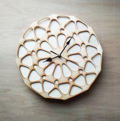 10% OFF Laser cut Wall Clock, Laser Cutting Wood Clock, Modern Design Laser Cut Clock, Parametric Flower Wall Clock, Unique Clock