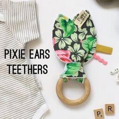 Bunny Ears Wooden Teething Ring Taggie 100% Cotton Baby Toys (0 - 12 Months) Tribal Foxes Badgers Pink