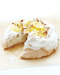 Pavlova with Vanilla Cream & Candied Meyer Lemon--I'm going to make it using mandarins