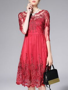 Red Crew Neck Cocktail A-line Mesh Embroidered Midi Dress
