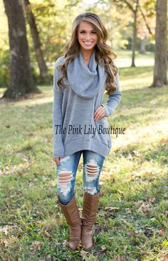 Light Grey Cowl Neck Sweater - The Pink Lily Boutique