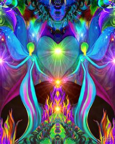 Violet Flame Chakra Art Twin Flames Angel Heart  by primalpainter, $20.00