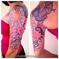 Caitlins Lacey Paisley half sleeve by Michele Wortman - Gorgeous Tattoos, Cute Tattoos, Body Art Tattoos, Girl Tattoos, Tattoos For Guys, Tatoos, Paisley Tattoo Sleeve, Paisley Tattoo Design, Shoulder Cap Tattoo