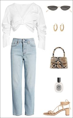 A Fresh Way to Wear Straight-Leg Jeans for Spring (Le Fashion), Spring Outfits, A Fresh Way to Wear Straight-Leg Jeans for Spring Blazer Fashion, Denim Fashion, Womens Fashion, Fashion Hats, Fashion Dresses, Crop Top With Jeans, Cropped Jeans, Denim Coat, Mode Outfits