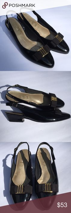Selby comfort flex patent leather black bow gold Gorgeous! NWOT Black patent leather, black ribbon bow with gold hardware, kitten heel, sling back SELBY comfort flex Selby Shoes Heels