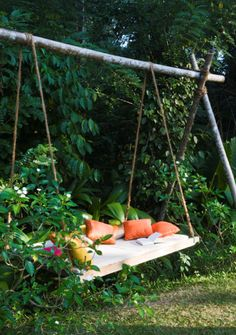 Backyard swing bed. Easy DIY with recycled pipe and a welder. Also could be interpreted in wood or a combination of the two; including strong, rot-resistant locust saplings.