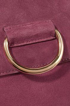 Little Liffner - Saddle Medium Suede Shoulder Bag - Plum - one size