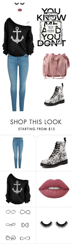 """you know"" by leina-elansary on Polyvore featuring Dr. Martens, Lime Crime, Tattify, Chanel, blackandwhite, jeans and casualoutfit"