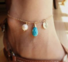 Gold ankle bracelet gold anklet personalized by BriguysGirls, $39.00