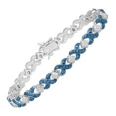 Tennis Bracelet with Blue Diamond in Sterling Silver over Brass ** More info @ http://www.amazon.com/gp/product/B017E0NJ42/?tag=ilikeboutique09-20&rw=160816225628