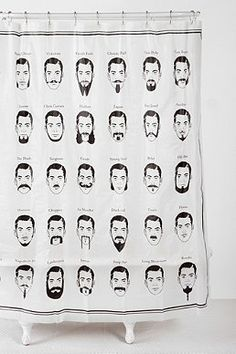 Moustache shower curtain