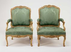Pair of Armchairs, about 1750–55. Jean Avisse (French, 1723–after 1796). Gessoed and gilded beech; modern silk upholstery. Los Angeles, J. Paul Getty Museum,