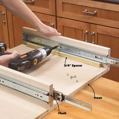 How to Build Kitchen Sink Storage Trays Kitchen Cabinet Storage Solutions: DIY Pull Out Shelves Kitchen Sink Storage, Kitchen Base Cabinets, Under Sink Storage, Diy Cabinets, Storage Cabinets, Kitchen Counters, Kitchen Sinks, Under Kitchen Sink Organization, Kitchen Remodel