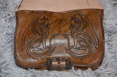 Mittelalter Gürteltasche  Leder Drachen